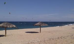 Norte of town.  Dozens and dozens of kite surfers.