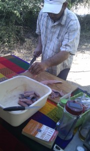 Adrienne fileting & chopping the fish.  Notice our Spanish/English dictionary, never far from us.