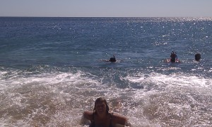 even Mom swimming