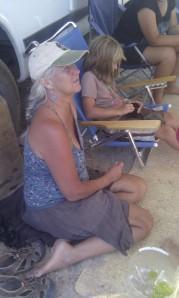 Sitting, telling stories