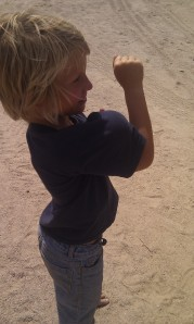 Laars developing muscles (bocce ball)