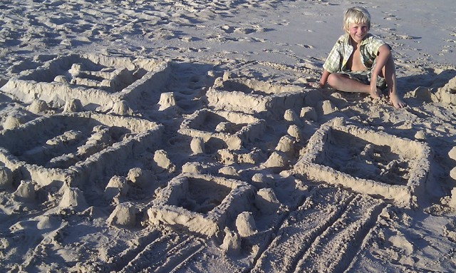 Anders and his sandcastle