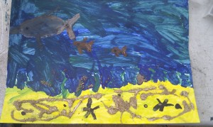 Anders' painting.  He thought to add glue and dirt for the sand.  Smart guy.