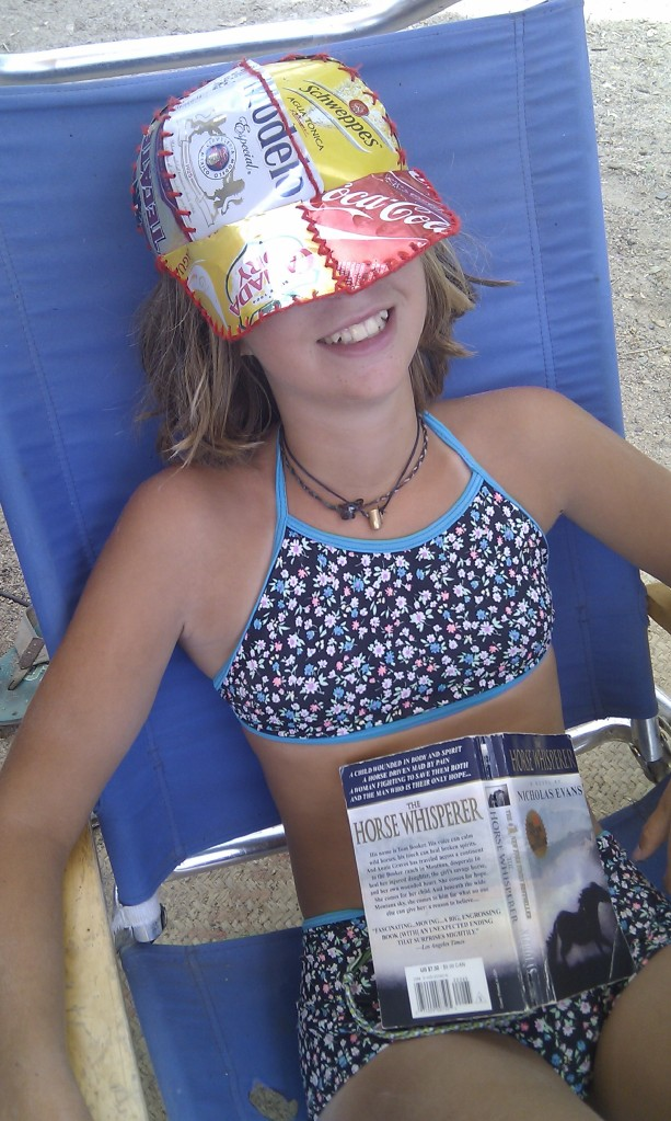 Maret in a (predominantly) beer hat she made.