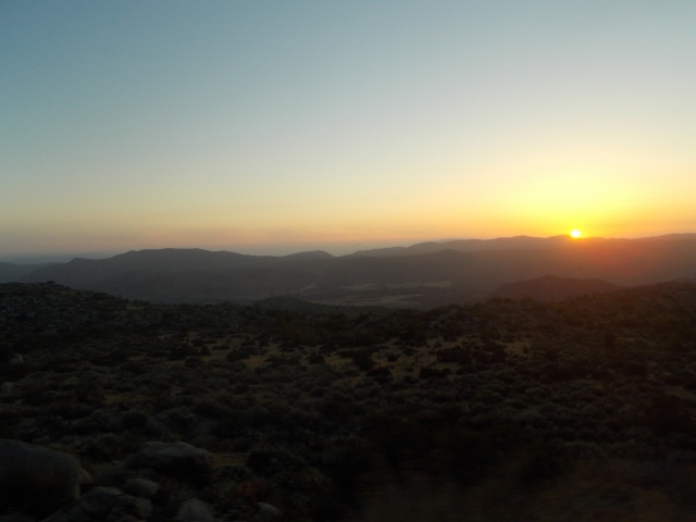 the sun sets as we ascend the mtns the first night