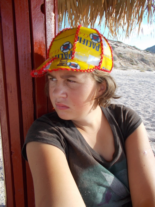 Danaka sporting a Pacifico hat designed and created by Maret