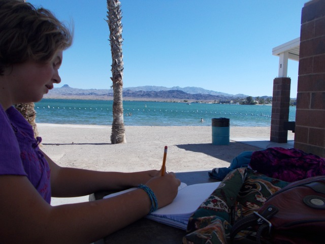 Danaka writing at Lake Havasu