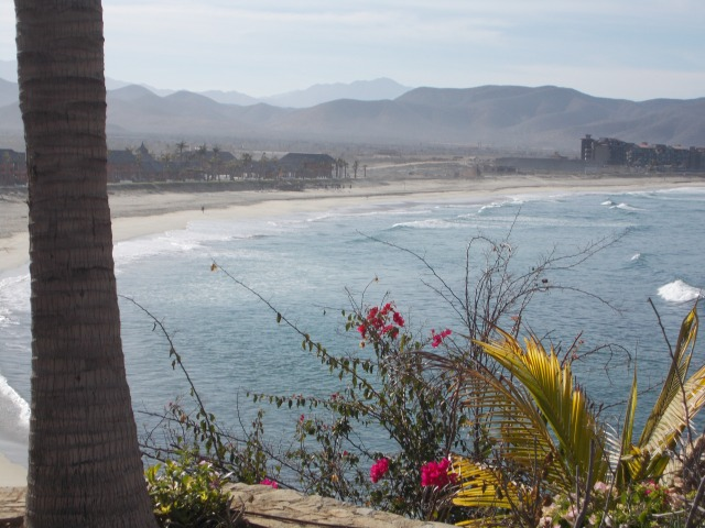 View of the beach from the hacienda