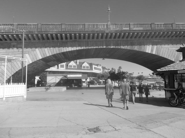Johnsons walking under the bridge
