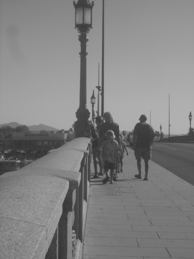 Johnsons walking on the bridge
