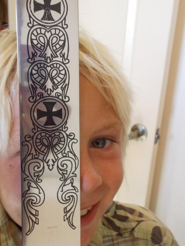 Quincy's sword with beautiful celtic design