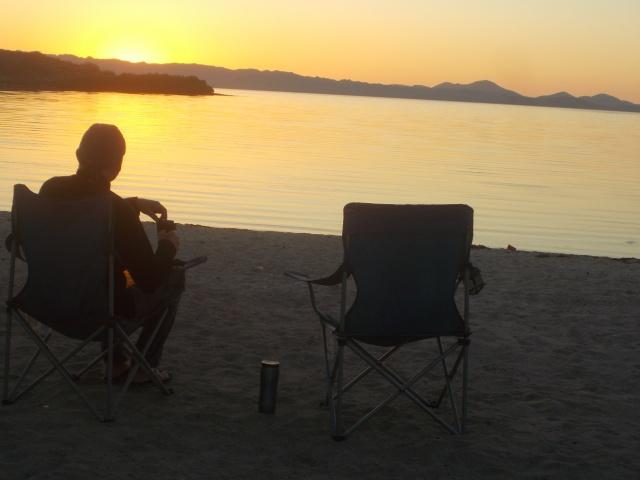 Everette watching sunrise