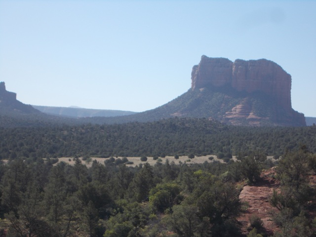 Bell Rock as seen from the side of Cathedral Rock