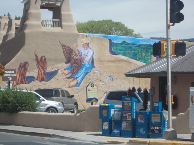 Murals and adobe-style buildings