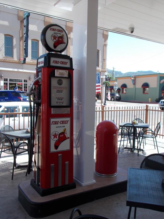 Old gas pump in a restaurant