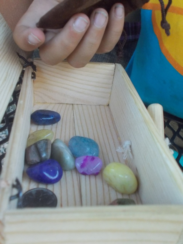 Polished rocks.  Laars loves colourful and sparkly things.