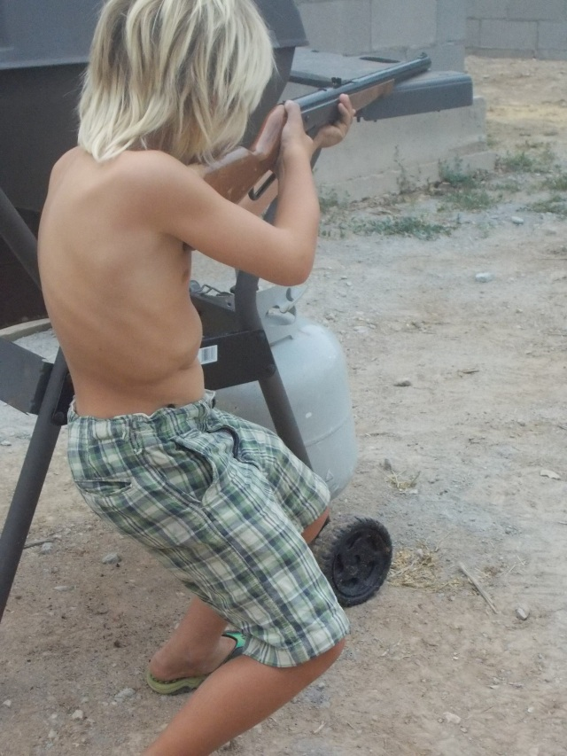 Anders LOVES shooting and think he takes after his big sister, Rauchelle