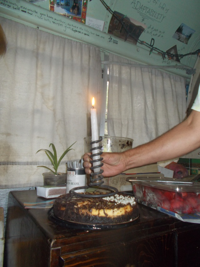 """Forged candlestick holder for the Birthday cake.  We sang """"Happy Birthday"""".....the Zoo version"""