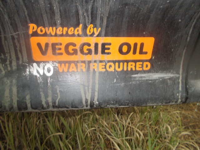 Powered by Veggie Oil No War Required (bumper sticker)