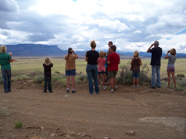 T.J. informs us about the 4 herds we see below near the water catchment.