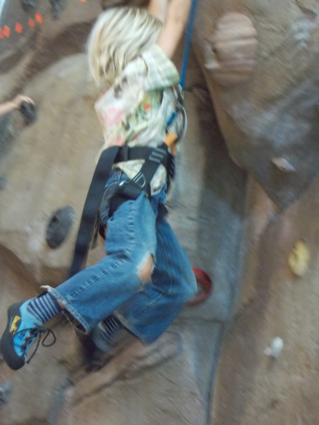 Dangling from an outcrop
