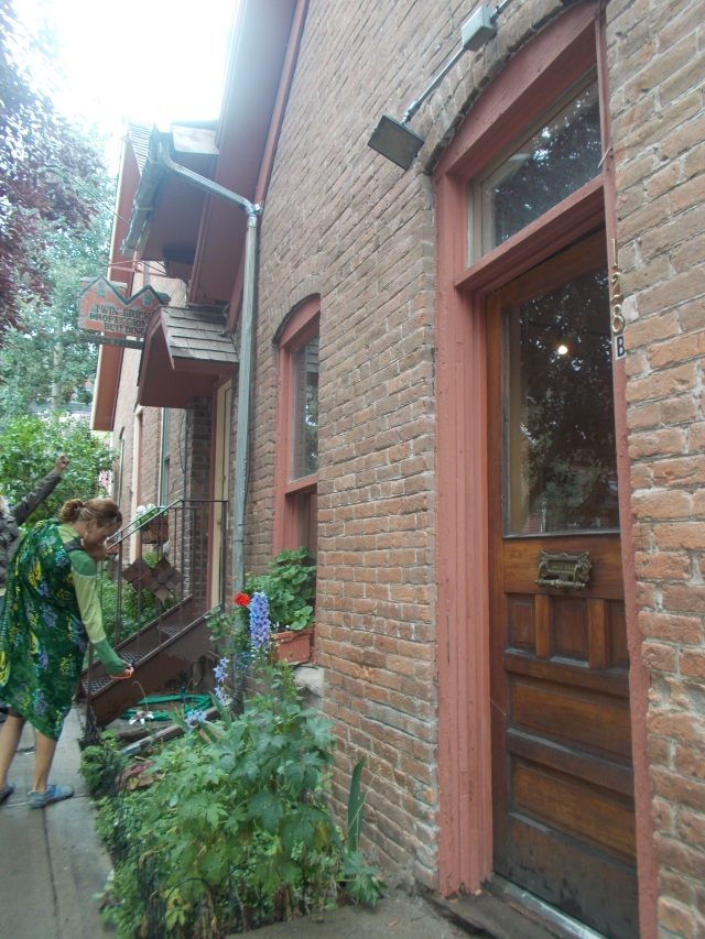 Love the bricks, wooden doors, geraniums