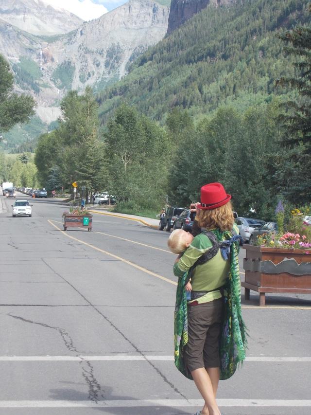 Rauchelle pauses mid-street to photoshoot Bridal Veil Falls