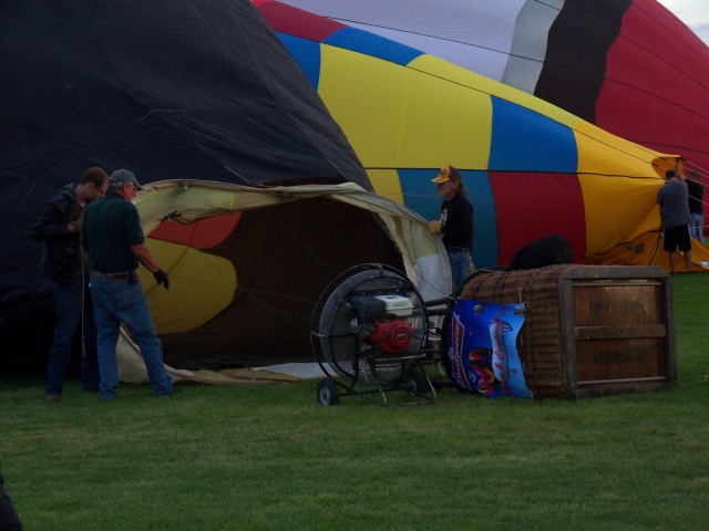 blowing up the balloon