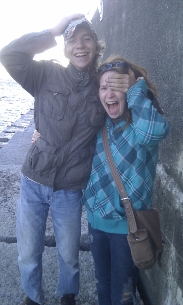 Silly siblings at the breakwater in VIctoria