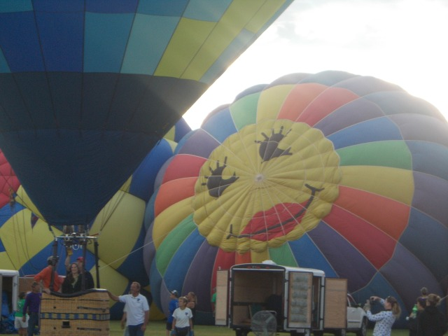 top of one of the balloons