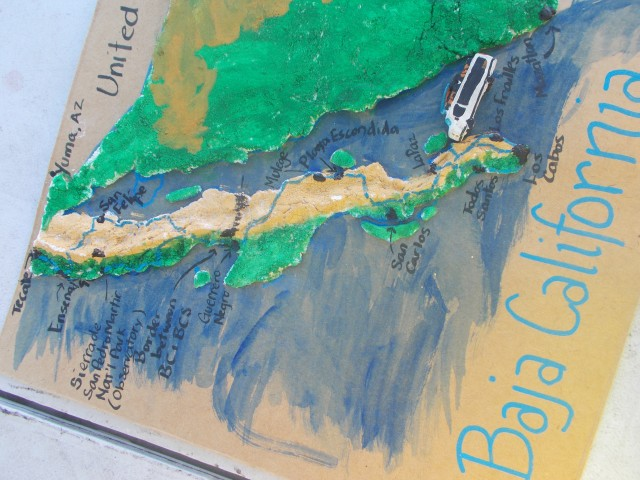 Finished painting, mom tracked our drive and labeled some towns that were significant to our stay on the Baja.