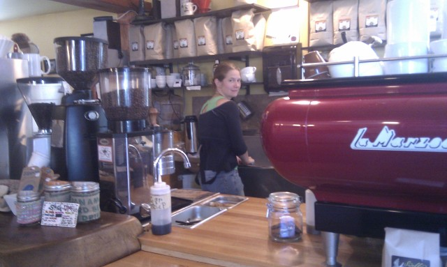 Layne at work.  She's a barista.
