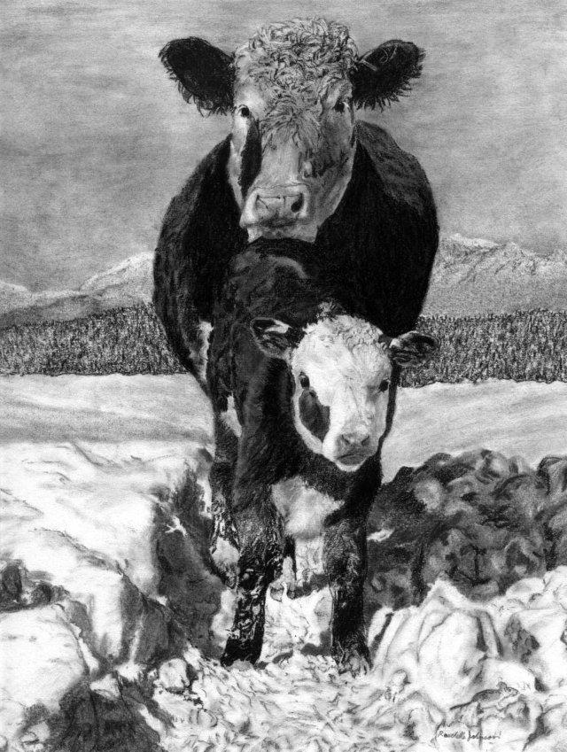 Mama & her calf huddling