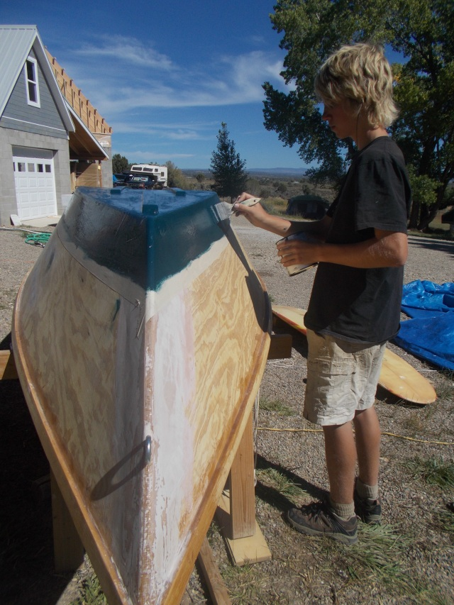 Painting the hull.