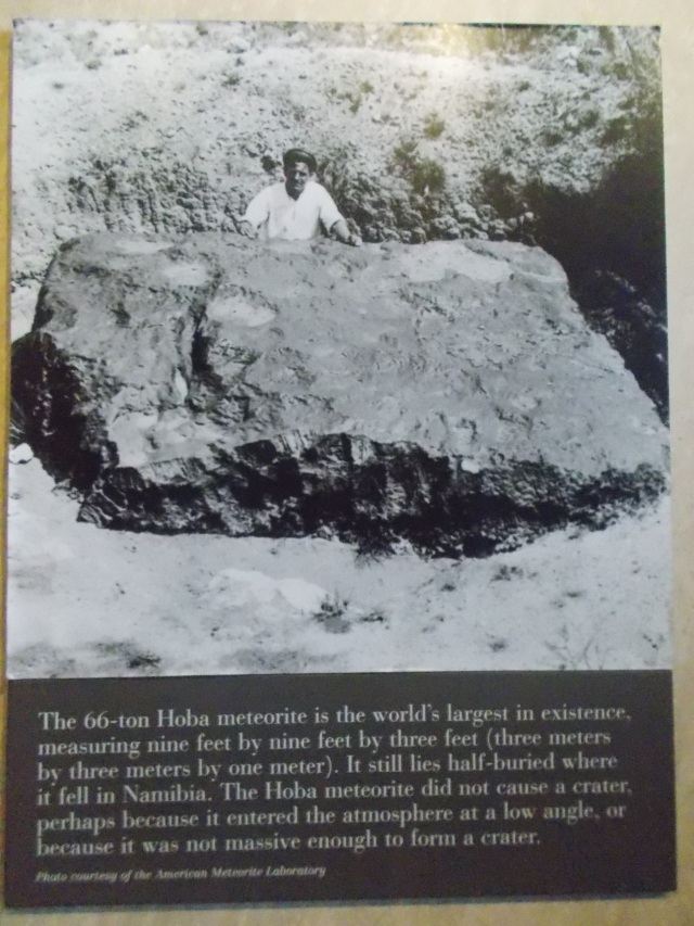 Hoba meteorite, largest in existence.  Measures 3m x 3m x 1m.  Still lies half-buried in Namibia.