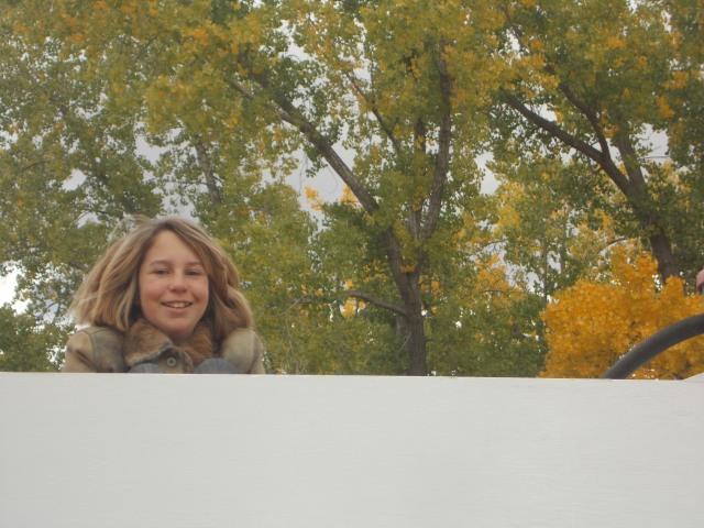 Maret atop the van