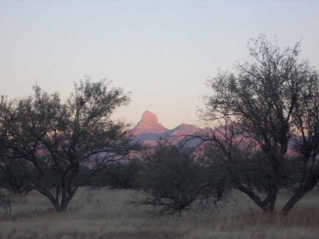 Sunrising on the mtns to the west of us long before its warming rays defrost us