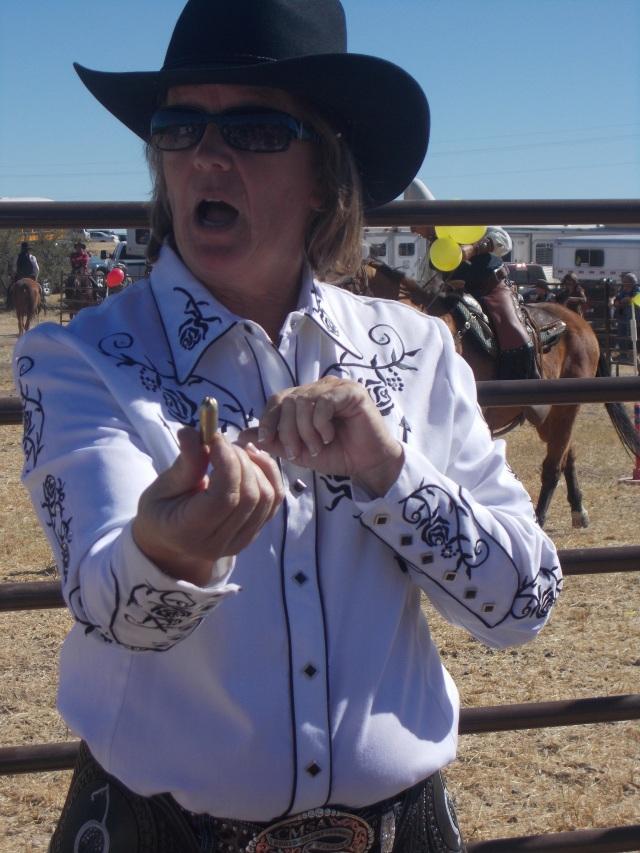 Diane Olson holding a bullet