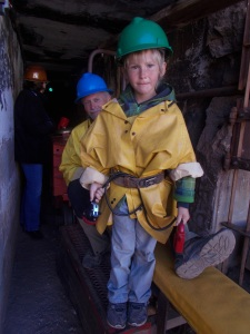 We caught a train, a tram, I'm not sure what it was called, but we sat on it like a horse and it took us into the mine.
