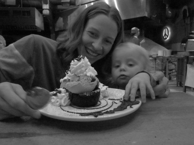 Sharing dessert with Marin
