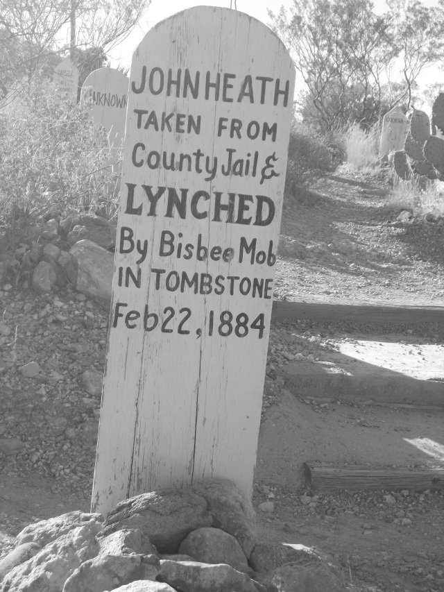 John was taken from the county jail and lynched by a Bisbee mob on Feb 22, 1884.  He was called the leader of the five men who were legally hanged and was said to have planned the robbery, although he hadn't actually done the deed.  He was hanged from a telegraph pole a short distance west of the Court House.  The knot wasn't tied properly, so it took John 22 minutes, dangling, to die.