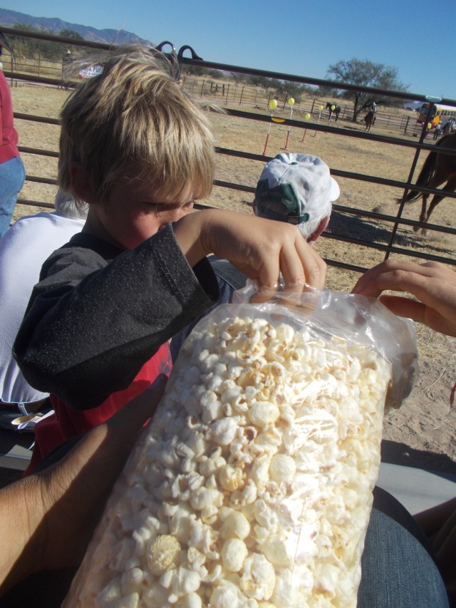 Found a fresh bag of kettle corn 2 older ladies left under their seat.  When they didn't return for 30 minutes I figured it was fair game and we devoured it!