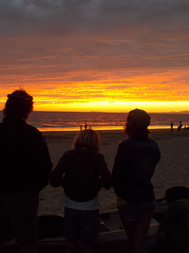 Sunset at Kino Bay with the children sharing the magical changing moments with me.