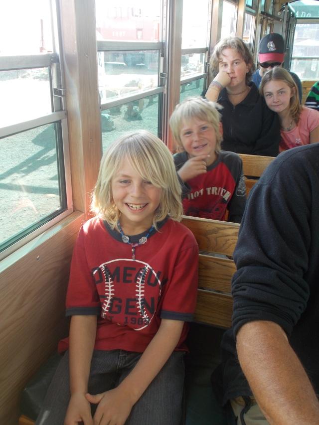 kiddos on the trolley