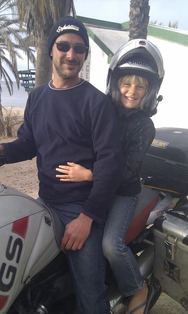 Gaelyn on Matt's motorcycle