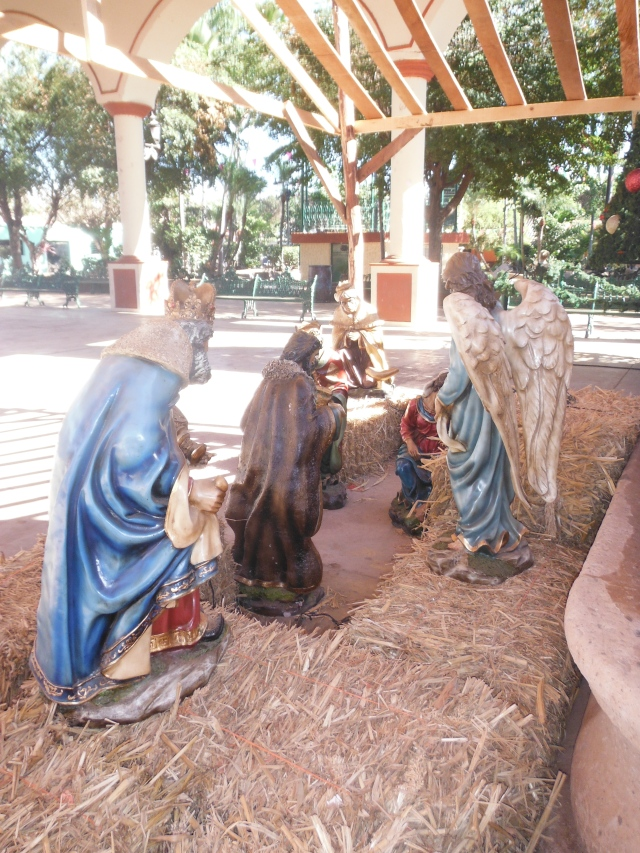 Nativity in the town square, waiting for Jesus' arrival
