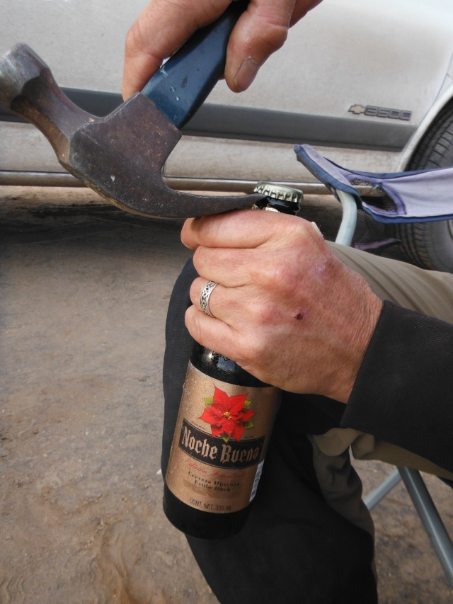 The way a carpenter opens a beer bottle
