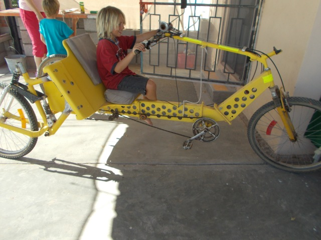 Tavi's bike runs on solar energy, great for Mexico.