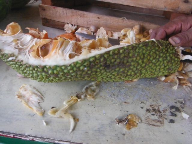 Yaka fruit.  It's sticky & messy, but I let Francisco deal with it.  The fruit is pockets of orange flesh with a stone pit, all surrounded by fibrous creamy white strips.  Francisco uses the white stuff to ferment--he says its a great detox.  It tastes absolutely horrible.