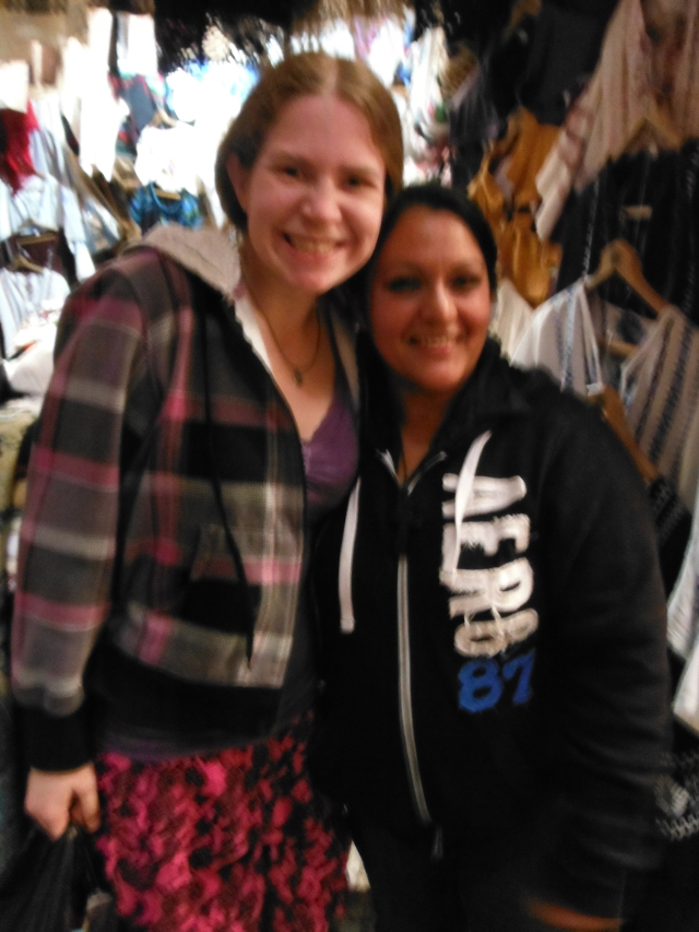 "This is Layne with Guadalupe, a vendor in the Patzcuaro market that we visited a couple of times.  Layne is 5'2.5""-and a bit! and Guadalupe is really that much shorter than her!!"